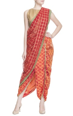 Red striped sari with blouse piece