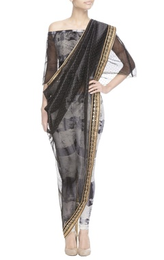 Black studded sari with crop top