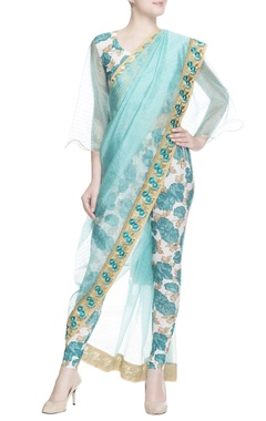 blue studded sari with crop top & leggings