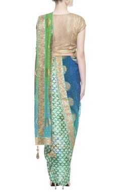 blue & green sari with blouse piece