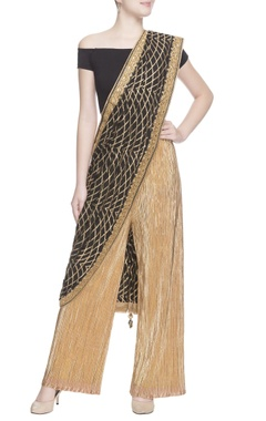 gold crinkled pants & black sari drape