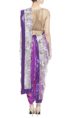 purple floral print sari with blouse piece