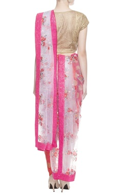 pink floral print sari with blouse piece
