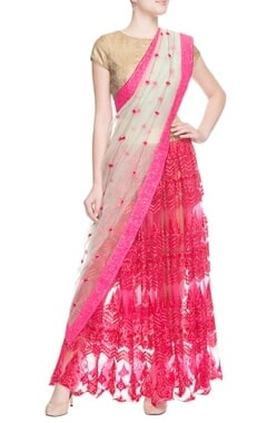 pink skirt with dupatta & blouse piece