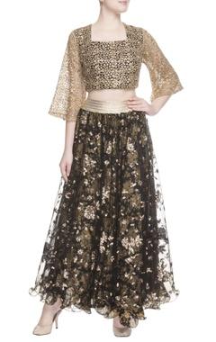 Black printed skirt & gold crop top