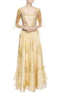 yellow printed skirt set