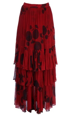Red tiered style skirt