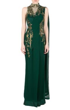 Bottle green zardozi sari gown