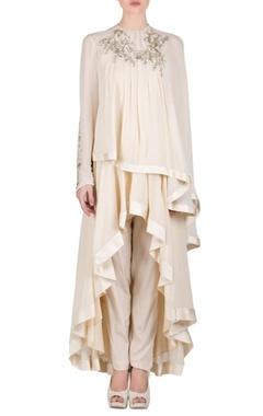 Beige layered embroidered kurta set