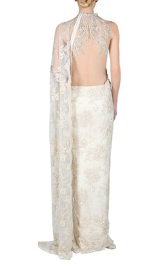 Ivory pearl embroidered sari gown