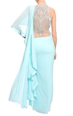 Aquamarine blue embroidered sari gown