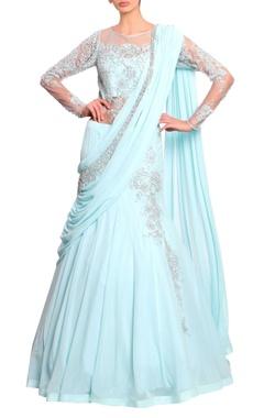 Aquamarine blue lace sari gown