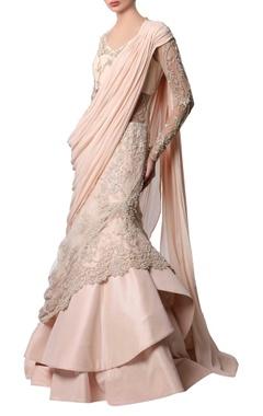 Gaurav Gupta Powder pink beaded sari gown