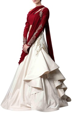 deep red & ecru embellished sari gown