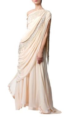 Gaurav Gupta Peach off-shoulder sari gown
