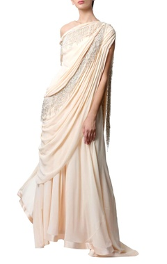 Peach off-shoulder sari gown