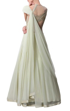 light green embroidered sari lehenga