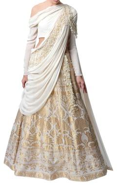 Gaurav Gupta Ecru & gold sari lehenga