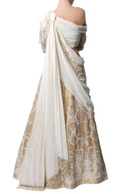 Ecru & gold sari lehenga
