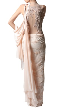 powder pink embroidered sari gown