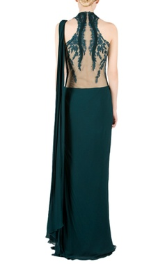 forest green embroidered sari gown