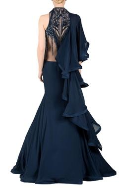 Midnight blue embellished sari lehenga