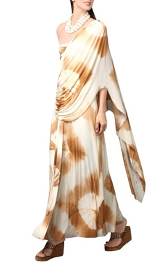 Cream & caramel tie-dye maxi dress