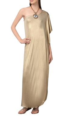 gold one-shoulder maxi dress