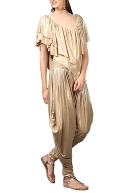 Gold shimmery draped jumpsuit