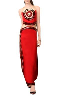 Red maxi dress with cutouts