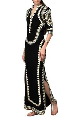Black maxi dress with applique work