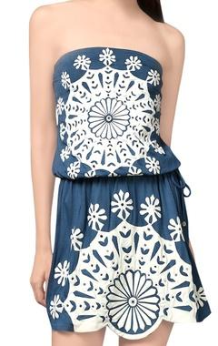 Blue applique work tube dress