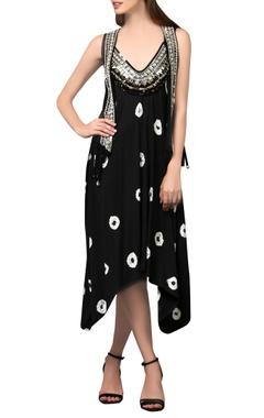 Black embellished midi dress