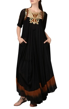 Malini Ramani Black & brown shaded maxi dress