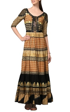 Malini Ramani Multi-colored block print maxi dress