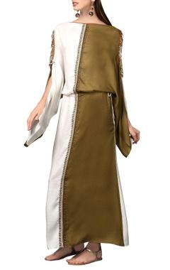 White & olive green maxi dress
