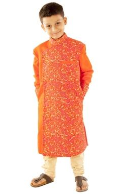 Orange floral embroidered sherwani