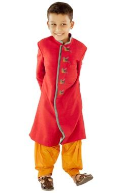 Red bird sherwani with mustard patiala