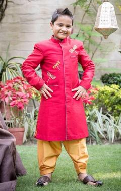 Red dragon fly sherwani with mustard patiala