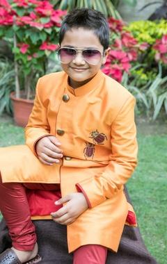 Orange bug sherwani with churidar