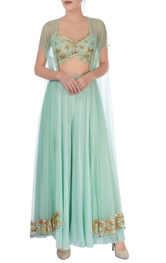 Mint green embroidered palazzo set