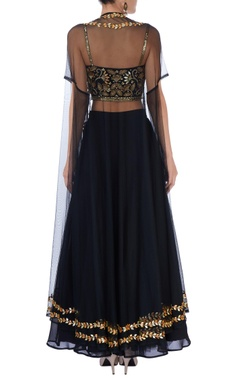 Black and gold embroidered palazzo set