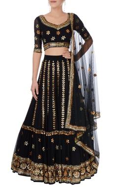 Esha Koul Black & gold embroidered lehenga set.