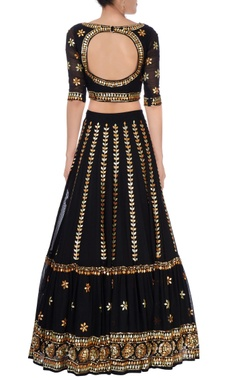 Black & gold embroidered lehenga set.