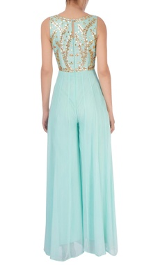 Ice blue embroidered jumpsuit