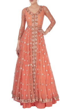 Esha Koul Coral pink embellished jacket lehenga set