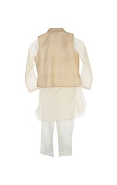 White kurta & pyjama with beige jacket