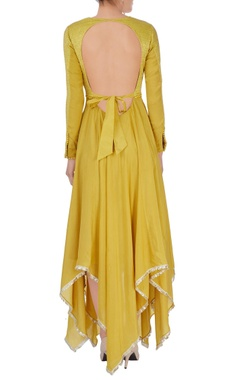 Mustard yellow asymmetric anarkali