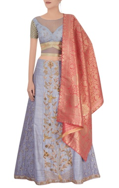 Lilac embroidered lehenga set