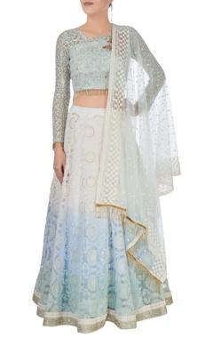 white & blue embroidered lehenga set